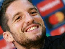 Napoli forward Dries Mertens attends a press conference ahead of the Dinamo clash. AFP