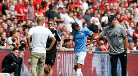 Manchester City winger Leroy Sane was forced off with a knee injury during Sunday's victory. AFP