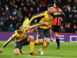 Giroud rescató otra vez en 2017 al Arsenal. AFP