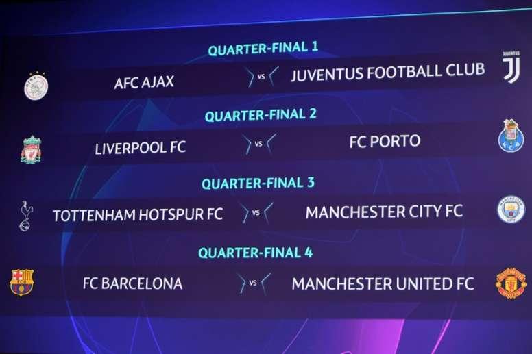 Celebrado el sorteo de cuartos de final de la Champions League. AFP