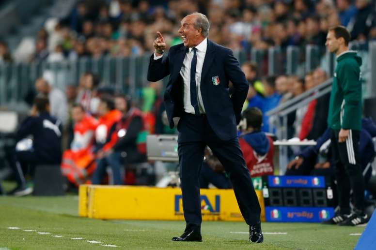 c5ddc482fc Pin Italys coach Giampiero Ventura reacts during the WC 2018 football  qualification match between Italy and Spain