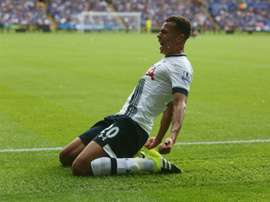 Tottenham Hotspurs Dele Alli celebrates after scoring during the Premier League match against Leicester City at King Power Stadium on August 22, 2015