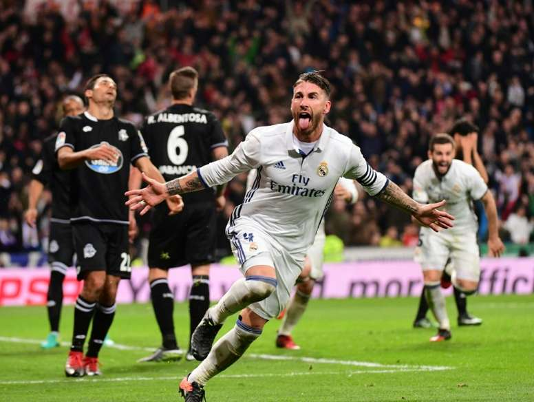 Real Madrids defender Sergio Ramos celebrates after scoring on December 10, 2016