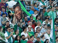 Supporters of the New York Cosmos, which will not be allowed to join the first-tier Major League Soccer, cheer on their team during the match against the Fort Lauderdale Strikers at Hofstra University on August 3, 2013