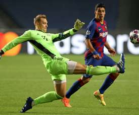 Neuer commiserates with Ter Stegen after winning battle of German keepers
