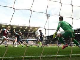 Sergio Aguero scored his 20th Man. City goal against Burnley. AFP