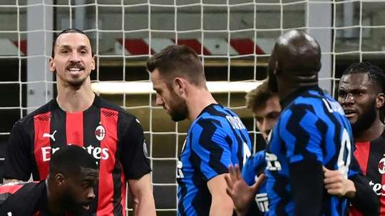 There was tension between Ibrahimovic and Lukaku in the Milan derby. AFP