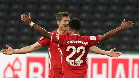 Lewandowski scored two in Bayern's 4-2 win over Leverkusen in the German Cup final. AFP