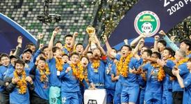 Jiangsu Suning won the CSL after beating Cannavaro's Guangzhou Evergrande. AFP