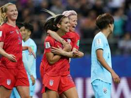 Alex Morgan (2r) defended the team's celebrations against Thailand. AFP