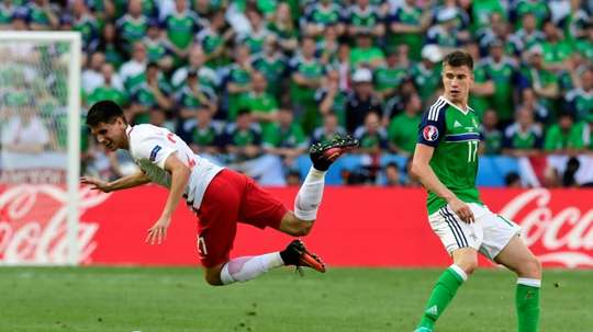 Northern Irelands Paddy McNair (right) had their best chance of the first half against the Czech Republic