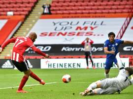 David McGoldrick got a brace in Sheffield United's 3-0 win over Chelsea. AFP