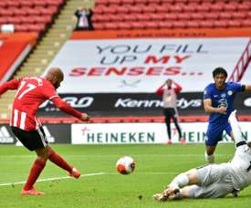 David McGoldrick got a brace in Sheffield United's 3-0 win over Chelsea. AFP