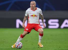 Angelino got both goals as Leipzig beat Basaksehir 2-0. AFP