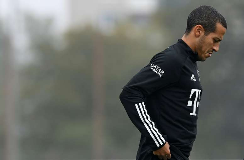 Thiago Alcantara attended Bayern's training session on Friday. AFP