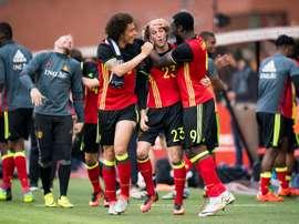 L-R: Belgiums Axel Witsel, Laurent Ciman and Romelu Lukaku celebrate after scoring. BeSoccer