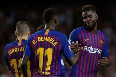 Umtiti got injured in the training session on Tuesday. AFP