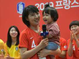 Hwang Bo-ram will become the first mother to play for South Korea. AFP