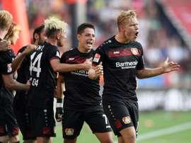 Pohjanpalo se destapó en la Bundesliga con un 'hat trick' en 15 minutos. AFP