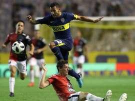 Polémica en el encuentro entre Boca Juniors y San Lorenzo. AFP