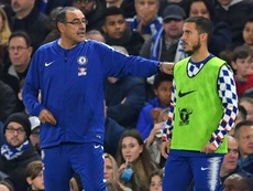 Hazard is happy at Chelsea under Sarri's tactics. AFP