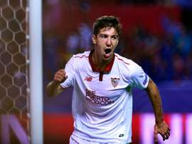 Luciano Vietto celebrates after scoring in the Champions League match with Dinamo Zagreb. AFP