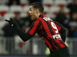 Nices forward Hatem Ben Arfa celebrates after scoring a penalty during the French L1 football match between Nice and Angers on January 15, 2016 at the Allianz Riviera stadium in Nice, southeastern France
