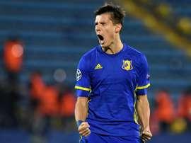 Rostov forward Dmitri Poloz celebrates after scoring a goal. AFP