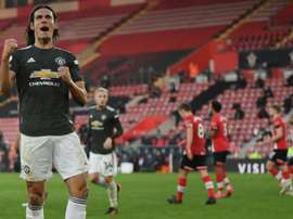Edinson Cavani of Man Utd faces former club PSG on Wednesday. AFP