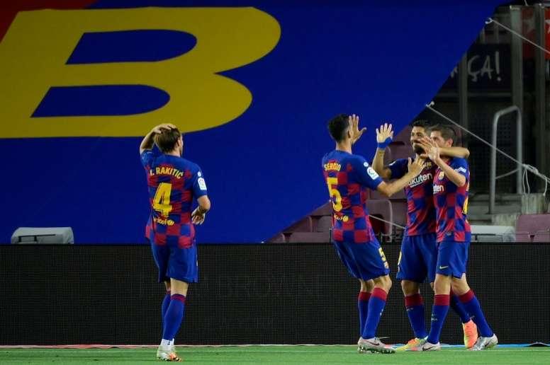 El derbi catalán certificó el descenso del Espanyol. AFP