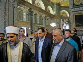 Saudi football delegation visits Jerusalem's Al-Aqsa. AFP