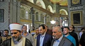 Saudi football delegation visits Jerusalem's Al-Aqsa. AFP