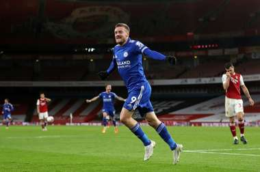 Leicester striker Jamie Vardy celebrates his goal at Arsenal. AFP