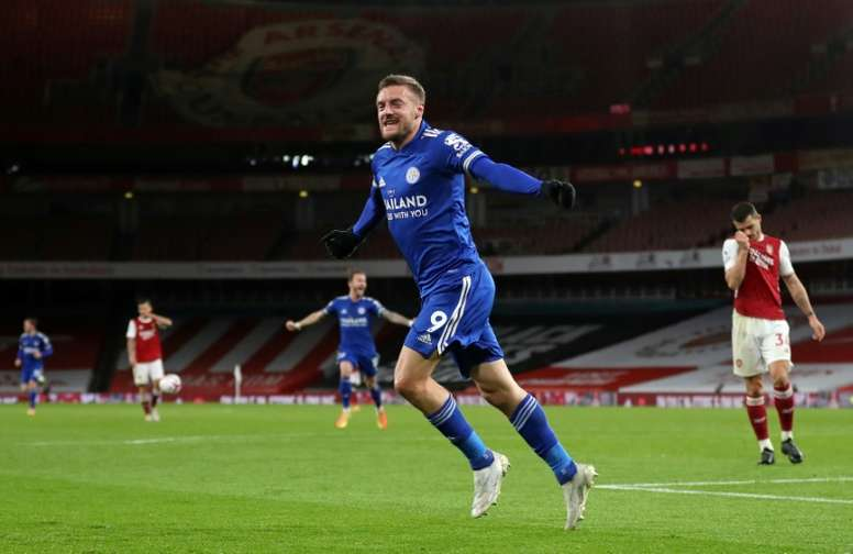 Leicester striker Jamie Vardy celebrates his goal at Arsenal. AFP