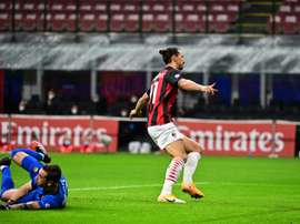 Zlatan Ibrahimovic celebrated as the ball bounced into Antonio Mirantes net. Goal