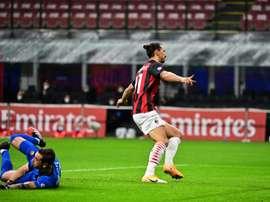 Zlatan Ibrahimovic celebrated as the ball bounced into Antonio Mirantes net. Goal