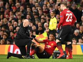 Anthony Martial is out with a knee injury. AFP