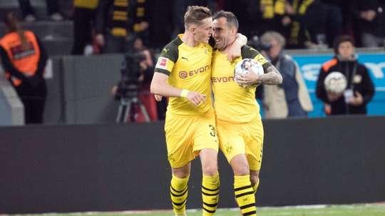 Bruun Larsen (L) could leave Dortmund for Bournemouth. AFP