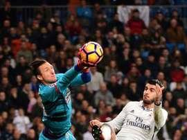 L'attaquant du Real Madrid, Alvaro Morata dans un match de Liga contre Deportivo. AFP