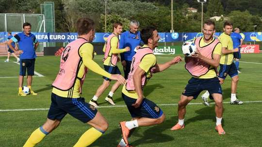 Ukraines training session at the Georges-Carcassonne Stadium in Aix-en-Provence, southern France, on June 20, 2016