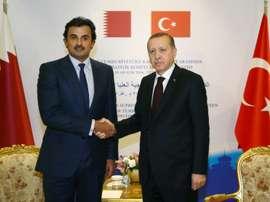 Erdogan (R) and Emir of Qatar Sheikh Tamim bin Hamad Al Thani shake hands. AFP