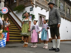 Jerome Boateng with his family on a visit to the Munich beer festival. AFP