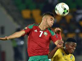 Moroccos forward Youssef En-Nesyri (L) heads the ball during their Africa Cup of Nations match against Togo in Oyem on January 20, 2017