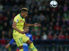 Nantes French forward Yacine Bammou heads the ball during the French L1 football match between Caen (SM Caen) and Nantes (FC Nantes), on October 23, 2015, at the Michel dOrnano stadium, in Caen, northwestern France