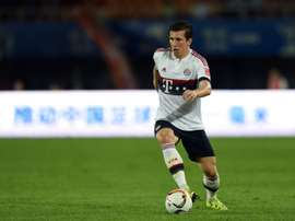 Pierre-Emile Hojbjerg controls the ball during a friendly match between Guangzhou Evergrande and Bayern Munich in Guangzhou on July 23, 2015