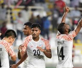 Chhetri was on the scoresheet twice against Thailand. AFP