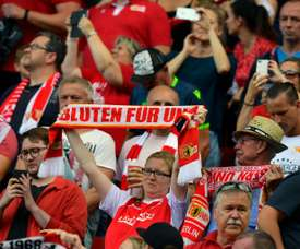 Union Berlin fans protested against how opponents Leipzig are run. AFP