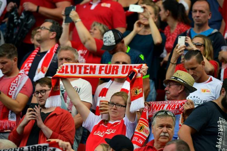 Union Berlin fans protested at the start of the game v Leipzig. AFP