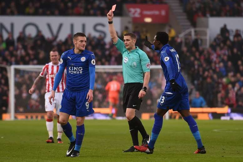 Vardy was sent off against Stoke City at the weekend. AFP