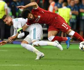 Sergio Ramos infamously tackled Mo Salah during the Champions League final. AFP